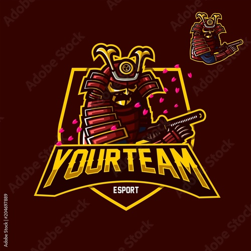 Japanese Samurai Esport Gaming Mascot Logo Template Stock Image And