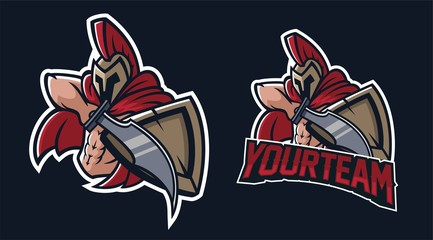 spartan holding sword and shield esport gaming mascot logo template