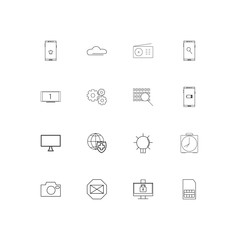 Devices linear thin icons set. Outlined simple vector icons