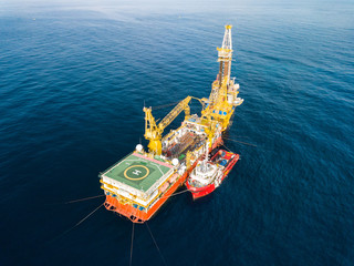 Wall Mural - Aerial View of Tender Drilling Oil Rig (Barge Oil Rig) in The Middle of The Ocean