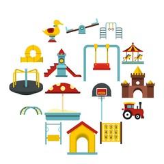 Playground set flat icons