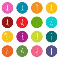 Surgeons tools icons set colorful circles vector