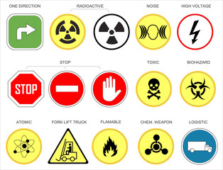Various traffic and warning signs or icons on a white, yellow, green, red and blue background as vector Illustration