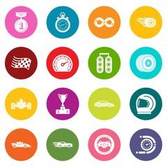 Car race icons set colorful circles vector