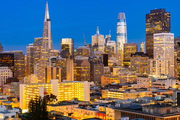 San Francisco downtown skyline Aerial view at sunset from Ina Coolbrith Park Hill in San Francisco, California, USA.