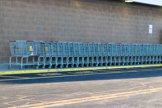 Shopping carts outside local grocery store in Watertown NY