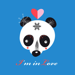 llustration of funny loving Teddy bear Panda