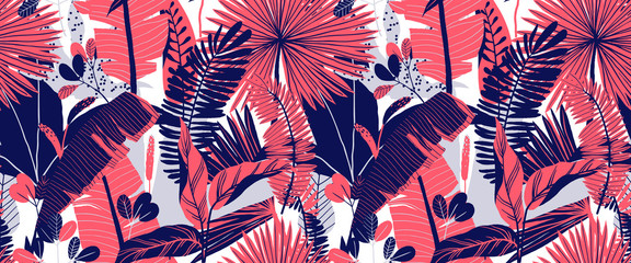 Seamless pattern, hand drawn tropical plant, leaf, pink and blue tones on white background Wall mural
