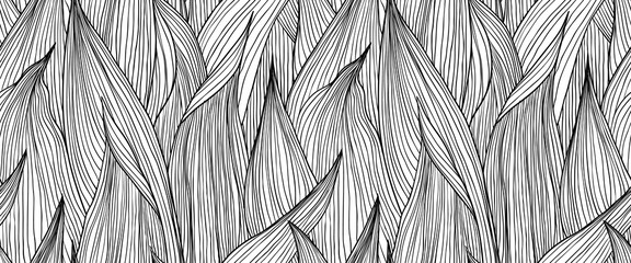 Seamless pattern, hand drawn outline black ink long shape leaves on white background Wall mural