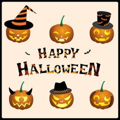 Illustration vector of Halloween set pumpkins jack lantern design emoticon face.