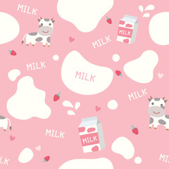 Cute seamless pattern on pink  background decorated with little cows, strawberry flavor  milk box and splash design for world milk day.