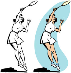 A woman playing tennis serving the ball.