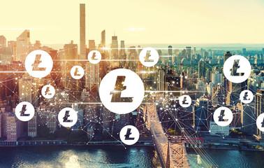 Litecoin with the New York City skyline near Midtown