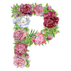 Letter P of watercolor flowers