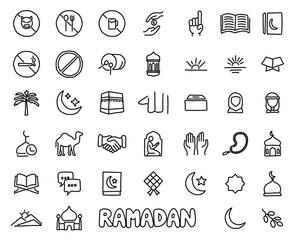ramadan hand drawn icon set design illustration, hand drawn style design, designed web and app