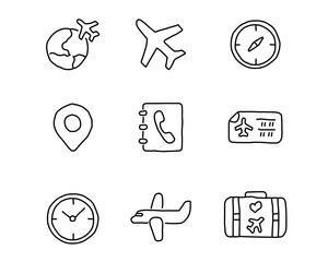 travel hand drawn icon set design illustration, hand drawn style design, designed web and app