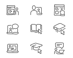 online education hand drawn icon set design illustration, hand drawn style design, designed web and app
