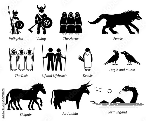 Ancient Norse Mythology Gods and Goddesses Characters Icon