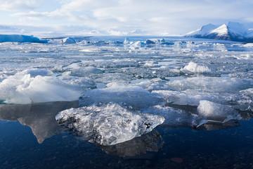 Ice in Jokulsarlon glacier, Iceland winter season natural landscape background