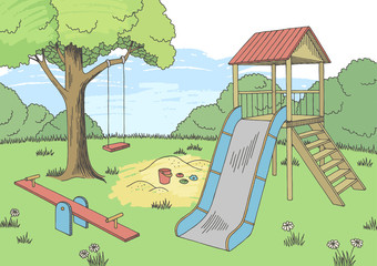 Playground graphic color landscape sketch illustration vector