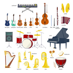 Music Instrument vector illustration set