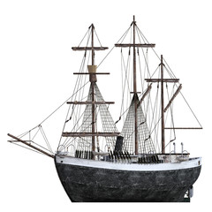 Old vintage Ship Isolated on white, 3d render.