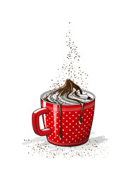 red cup of coffee with cream, illustration