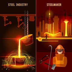 Steel industry set. Metallurgy process. Hot steel pouring in steel plant. Smelting of metal in big foundry. Iron and factory workshop