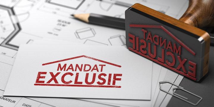 Mandat exclusif de vente ou de location dans une agence immobilière. Donner l'exclusivité à un agent immobilier
