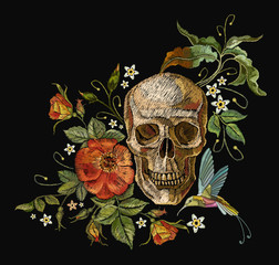 Embroidery skull and roses, humming bird and flowers. Dia de muertos art, day of the dead. Gothic embroidery human skulls and red roses, clothes template and t-shirt design
