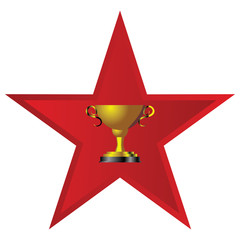 Golden Trophy wit Red Star