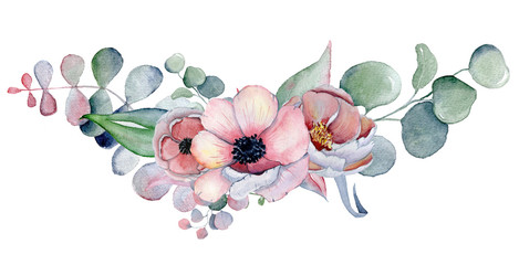 watercolor bouquet with anemone, peonies flowers and herbs
