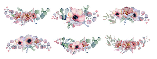 watercolor bouquets set with anemone, peonies flowers and herbs