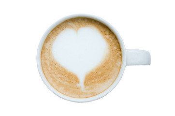 top view white cup of heart shape modern coffee isolated on white background with clipping path.