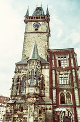 Old town hall in Prague, Czech republic, old filter
