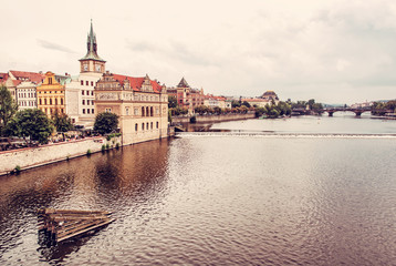 Old historical town Prague with Vltava river from Charles bridge