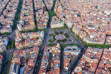 Barcelona aerial, Placa de Catalunya with typical urban design, Spain. Late afternoon light