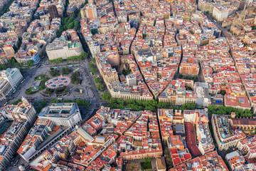 Barcelona aerial top view, Placa de Catalunya and famous La Rambla street, Spain. Late afternoon light