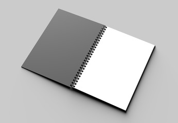 Spiral binder notebook mock up with black cover isolated on soft gray background. 3D illustrating.