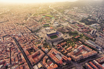 Zelfklevend Fotobehang Centraal Europa Aerial view of Barcelona Camp Nou stadium at sunset, Spain