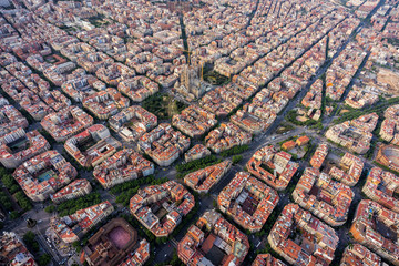 Self adhesive Wall Murals Barcelona Barcelona aerial view, Eixample residencial district with typical urban grid, Spain. Late afternoon light