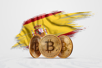Crypto currency, gold coin BITCOIN BTC. Coin bitcoin against the background of the flag of Spain. The concept a new currency, Blockchain Technology , a token. Mixed media