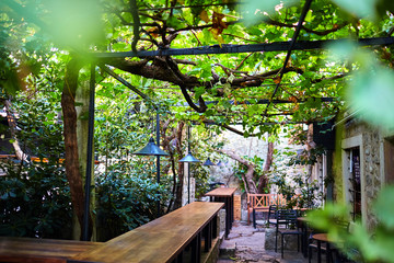 a street cafe with a terrace and a wattle grapevine. wooden bar counter Fototapete