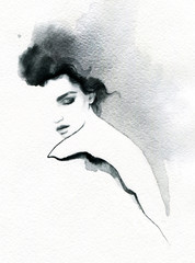 Zelfklevend Fotobehang Aquarel Gezicht beautiful woman. fashion illustration. melancholy. watercolor illustration