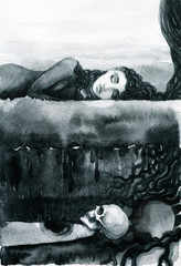 melancholy. landscape. watercolor illustration