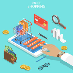Flat isometric vector concept of online shopping, e-commerce, mobile payment.