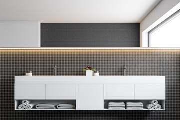 Black mosaic wall bathroom, double sink