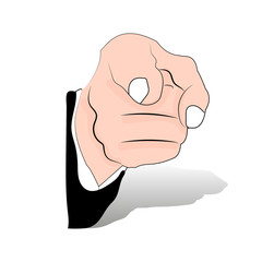 The index finger on the hand, emphasizes. Cartoon on a white background,