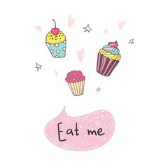 Hand drawing cupcake with hearts, eat me, vector illustration isolated on white background