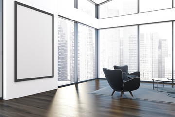Penthouse living room black armchair, poster